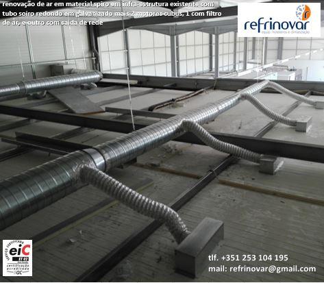 Sistema de renovação de ar com motor de entrada de ar e outro de extracção