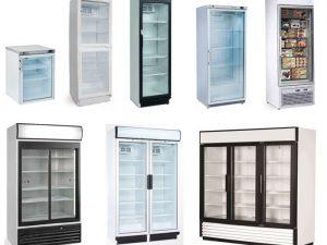 Armários refrigerados expositores com porta de Vidro, desde Modelos baixos, Altos, de Conservação ou de Congelação, com ou sem display de Iluminação