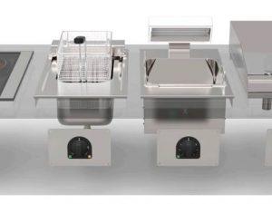 DROP IN - linha de encastrar em Tampos de Móveis , com fogões eléctricos ou gás, fritadeiras, chapas de grelhar ou aquecedores de Batatas, etc.