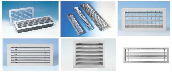 Grelhas de Ventilação, em Aluminio, chapa galvanizada para grelhas para condutas Spiro