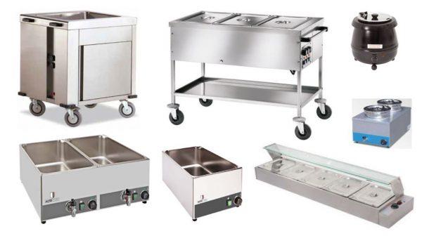 Sistemas de Aquecimento tipo banho maria, carro banho maria aquecido, banho maria de bancada, panela de sopas com água, expositor aquecido banho maria