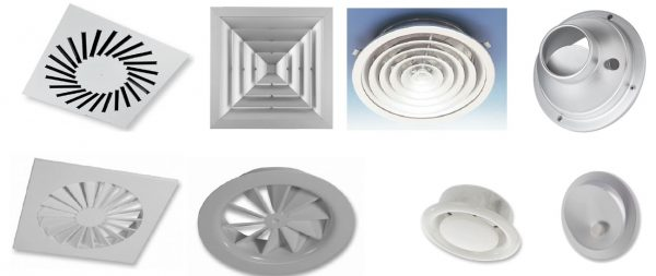 Difusores de Ar de Extracção e insuflação, Quadrados e redondos