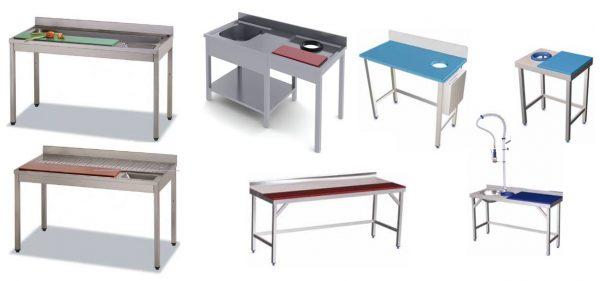 Vários exemplos de Mesas de Preparação com placas de polietileno, mesa preparação verduras (placa Verde) , Carnes ( placa Vermelha ), Peixe ( placa Azul )