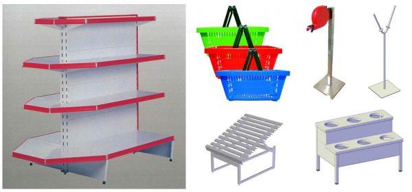 Equipamento neutro para Supermercado - Exemplo de estantaria, cestas auto-serviço, Estrado para frutas, Expositor de azeitonas, Suporte porta Sacos, etc