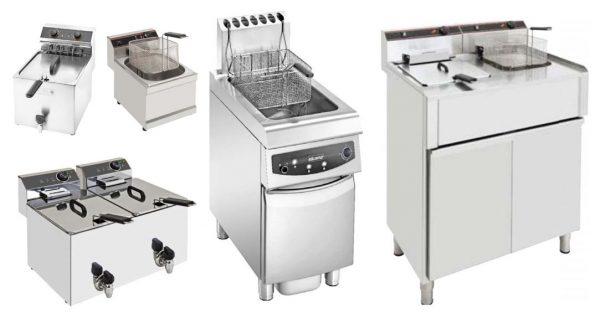 Fritadeiras electricas de Bancada com ou sem torneira, Fritadeiras de Móvel a gás ou eléctricas, simples ou duplas