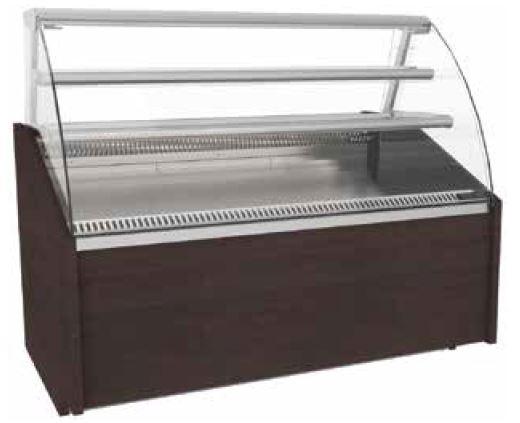 Vitrine Refrigerada com vidros Curvos de Pastelaria ou Cafetaria