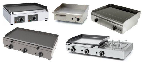 Chapas eléctricas ou a gás de Bancada, com 1,2 ou 3 Queimadores ou zonas de Aquecimento, chapas de várias espessuras