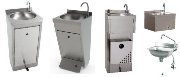 Pios lava-mãos de acionamento não manual, Modelo Vertical de Pedal, Modelo com caixote de lixo + saboneteira, Modelo suspenso de acionamendo por joelho