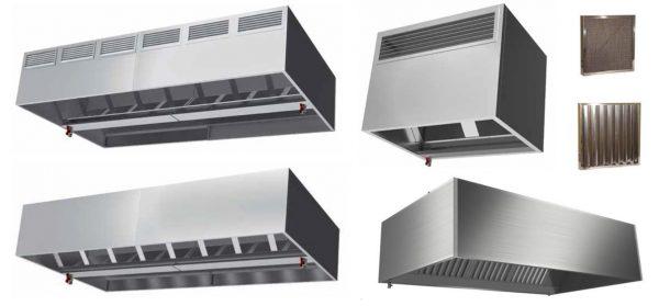 Apanha fumos ou Hottes, modelos Centrais e Murais simples, ou modelos centrais ou murais compensados com entrada de ar , mais fitrros de calha ou rede