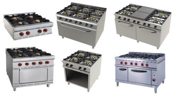 Fogões a gás de Bancada, fogões com fornos a gás estáticos, com placas de grelhar ao meio, fogão com espaço inferior amplo, fogão com forno e espaço lateral