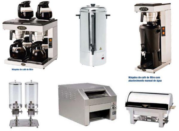 Máquinas de apoio ao Buffet Pequeno almoço, Caféteira dupla, Termo de Café, Dispensador de Cereais, Torradeira de Tapete, Rechaud aquecido a Lamparinas ou eléctrico