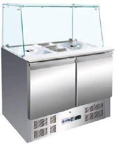 Bancada refrigerada Expositora contentores de diversas medidas com Vidro , Reserva inferior de capacidade 2 contentores GN 1-1 por porta, Modelos de 2 e 3 Portas