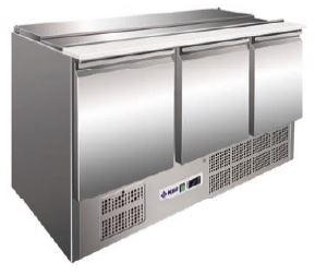 Bancada refrigerada Saladete de tampa amovivel para contentores superiores, Reserva inferior de capacidade 2 contentores GN 1-1 por porta, Mod de 1,2 a 3 Portas