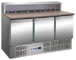 Bancada refrigerada Pizzas ,Tampo pédra com espaço para contentores GN 1-6 ,Reserva inferior de capacidade 2 contentores GN 1-1 por porta, Modelos de 2 e 3 Portas