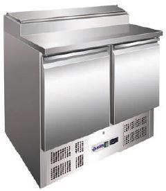 Bancada refrigerada ,tampo Inox, Reserva inferior de capacidade 2 contentores GN 1-1 por porta, Mod de 1,2 a 3 Portas