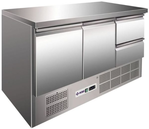 Bancada refrigerada ,tampo Inox, Reserva inferior de capacidade 2 contentores GN 1-1 por porta, Mod de 903 e 1370 mm, Existe outras semelhantes