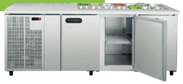 Bancada refrigerada Saladas para contentores embutidos no tampo de 2 a 5 Portas, grupo frigorífico incorporrado, posibilidade de frio á distânçia