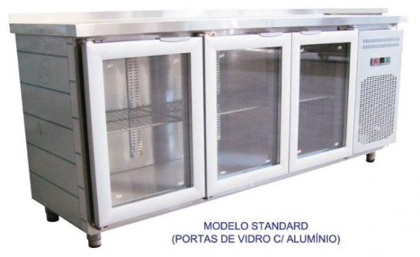 Bancada refrigerada inox, tampo liso ou com aba, Linhas de 60 ou 70 cm de profundidade de 2 a 5 portas vidro e aluminio ,grupo á distânçia ou incorporado