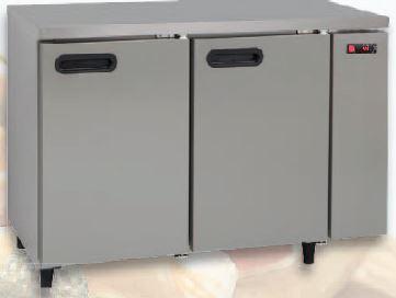 Bancada refrigerada simples inox, tampo liso ou com aba, Linhas de 60,70 ou 80 cm de profundidade de 2 a 5 portas,grupo frigorífico á distânçia