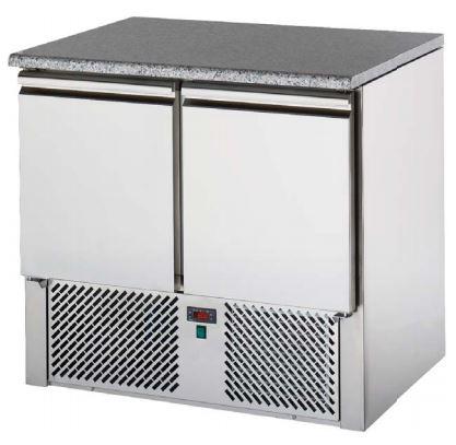 Bancada refrigerada ,tampo Pédra, Reserva inferior de capacidade 2 contentores GN 1-1 por porta, Modelos de 2 e 3 Portas