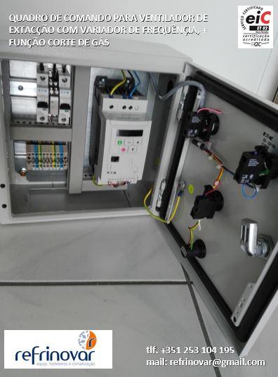 Quadro comando com variador de frequência mais corte de gás para motor de extracção 0,75 kw