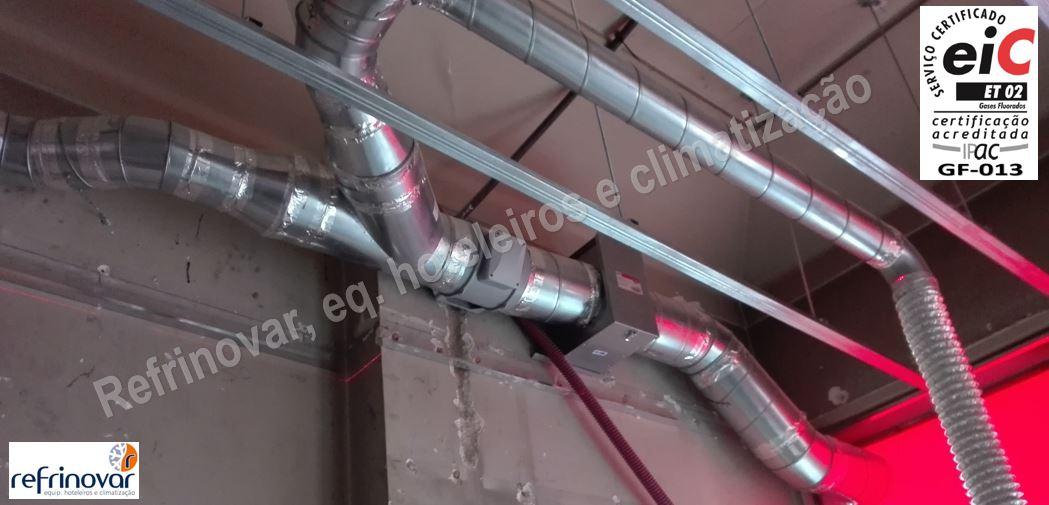 Pré-instalação de insuflação com caixa com filtro de ar e motor in-line