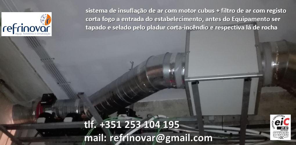 Motor ventilação cubus insuflação, filtro de ar, tubo spiro, registo corta fogo