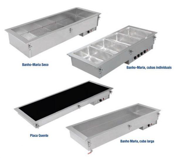Drop-in sistemas de Aquecimento - Banho Maria Seco, Banho Maria com cubas individuais, Placa de Aquecimento Vitrocerâmica ou inox, Banho Maria Largo