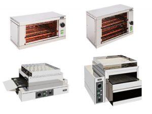 Torradeiras electricas com temporizador Simples de 1 Andar ou 2 Andares, mais 2 torradeiras de alto rendimento preparadas para pequenos almoços de hoteis ou cantinas
