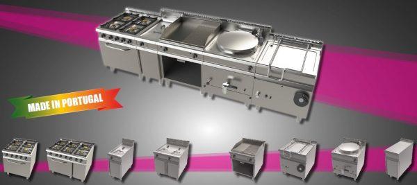 LINHA 900 MODULAR STANDARD - Linha com segmento de Vários fogões, fritadeiras, Frigideiras a gás, Marmitas ou Módulos Neutros