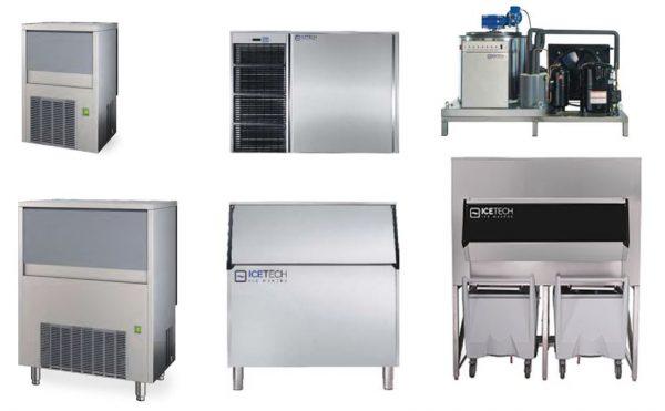 Máquina produtora de Gelo de cubo Simples, de Gelo triturado(Caipirinha) a gelo de Escamas(Peixaria) , Máquinas compactas com contentores porta gelo individuais
