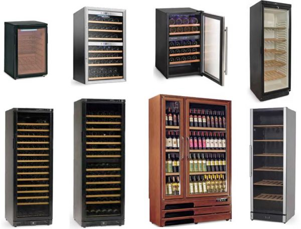 Armários frigoríficos especiais para vinhos, desde modelos baixos, zonas de 2 temperaturas, desde a modelos revestidos a madeira