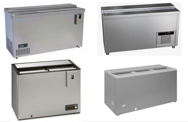 Arrefecedor de Garrafas, a frio estático, Modelos com diversas opções desde 2,3 a 4 tampas de correr, arrefecedores de Construção base em Aço Inox ou em SK