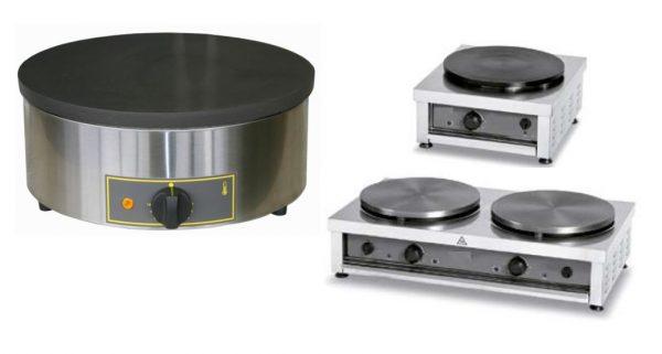 Crepeira Simples ou dupla, com pratos redondos de cozedura homogénea, resistencias em espiral que distribuem uniformente o calor