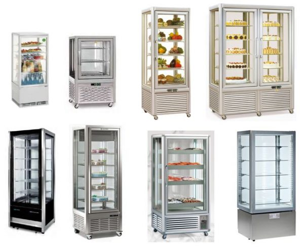 Expositores verticais refrigerados panorámicos de conservação, congelação ou frio misto, conservação de produtoas desde pastelaria, sandes, peixe ou carne