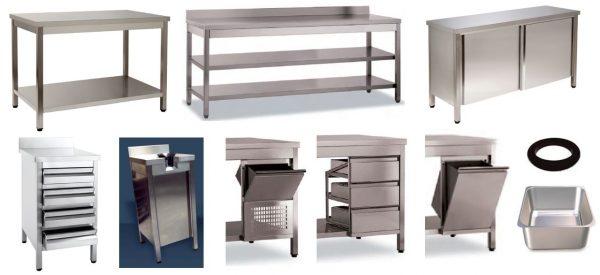 Mesas Inox ou Bancadas Neutras, de uma Prateleira ou duas Perateleiras, podem levar, gavetas, portas, tulhas de Café, Ourifiçio para detritos, pios etc .