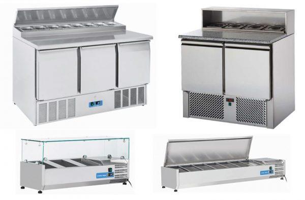 Bancadas refrigeradas Compactas com makes embutidos, sobrevitrines refrigeradas para ingredientes com vidro ou tampa