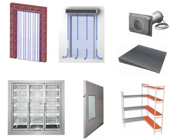 Acessórios de apoio a câmaras frigoríficas, Cortina de Lamelas, Cortina de Ar, Portas ou Janelade Vidro, Prateleiras Aluminio, etc.