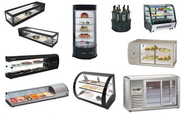 Expositores refrigerados de Sobrebalcão, refrigeração estática ou ventilada, para pastelaria, sushi, vinhos, sandes etc.
