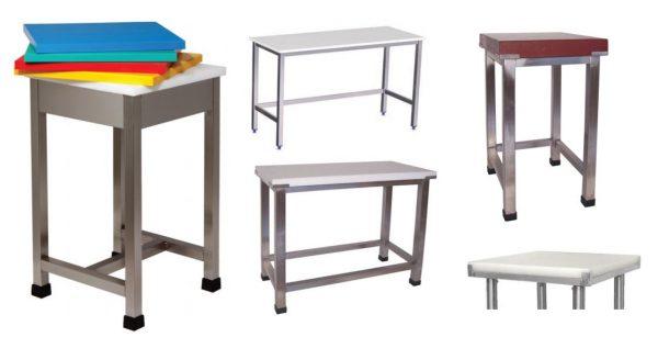 Mesas de Corte ou Cepos de Corte, estruturas em tubo inox quadrado ou redondo, com placas de polietileno com opções de várias espessuras ou cores