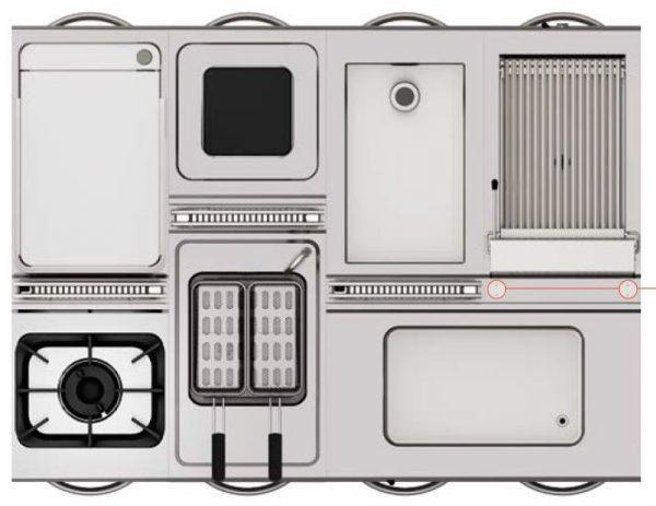 PLANTA LINHA MOSAICO MODULAR - Segmento de Mistura de 2 Tipos de profundidades de equipamentos de Queima, Exemplo da marca tecnoinox 45 & 74