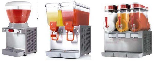 Máquina de Sumos Refrigerados, segmento simples a segmento de 2,3 ou 4 Recepientes, Máquina refrigerada de Granizados de vários Sabores