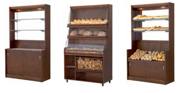 Exemplos de Expositores de Pão e seus derivados . Segmento Standard de Móveis Verticais de Padaria e Pastelaria.