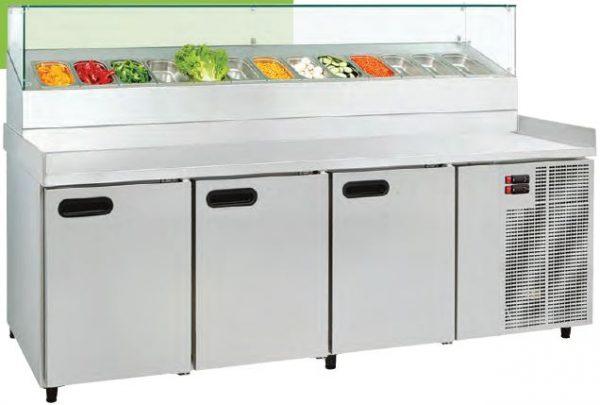 Bancada refrigerada com módulo superior para contentores embutidos + Vidro, de 2 a 5 Portas, grupo frigorífico incorporrado,Tampo inox ou Pédra