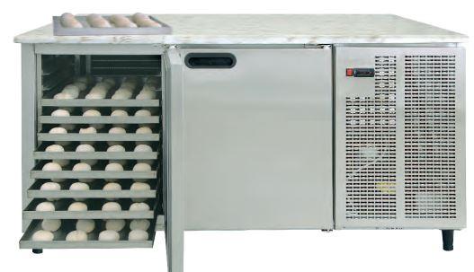 Bancada refrigerada de Padaria, de 2 a 4 Portas, desde Tabuleiros 60x40; 75x45 ou enfornadores 85x45 cm, tampo em rilene,inox ou pédra