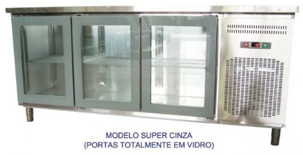 Bancada refrigerada inox, tampo liso ou com aba, Linhas de 60 ou 70 cm de profundidade de 2 a 5 portas de vidro especial,grupo á distânçia ou incorporado