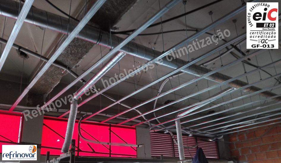Pré-instalação de tubos spiro de extracção de ar e insuflação de ar para gabinetes, mais pré instalação de circuitos de cobre para ar condicionado